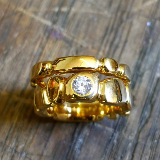 Tawny Phillips Facetted Diamond Gold with matching Wedding Band