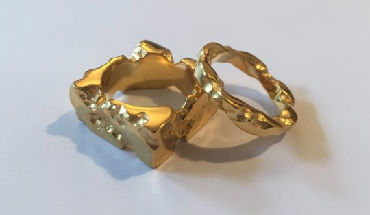 Tawny Phillips Gold Battered and Broken Rings