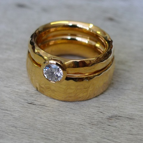 Handmade Gold Ripple Engagement Ring and Wedding Ring