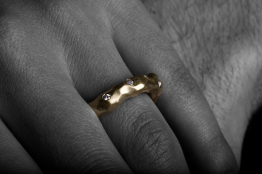 Tawny Phillips - Gold and Diamond Scattered Crumple Ring