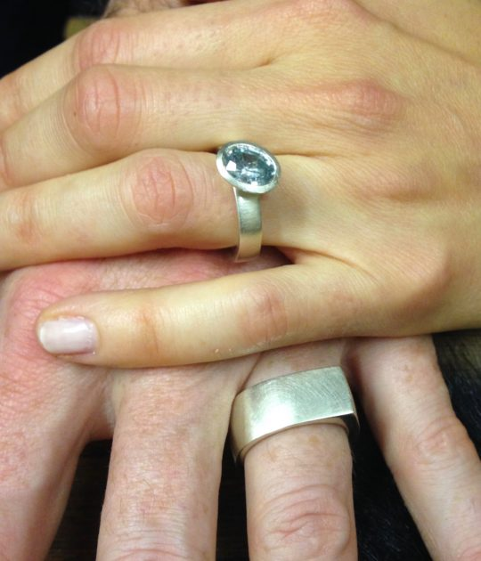 Tawny Phillips Green Sapphire and White Gold Wedding Rings