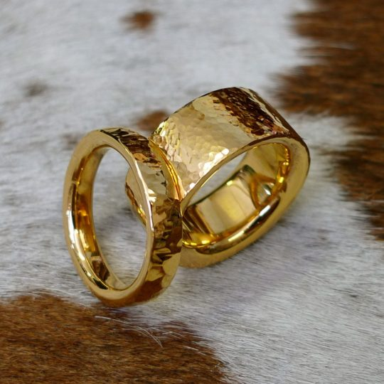 hand hammered heavy gold wedding rings - Handmade Wedding Rings