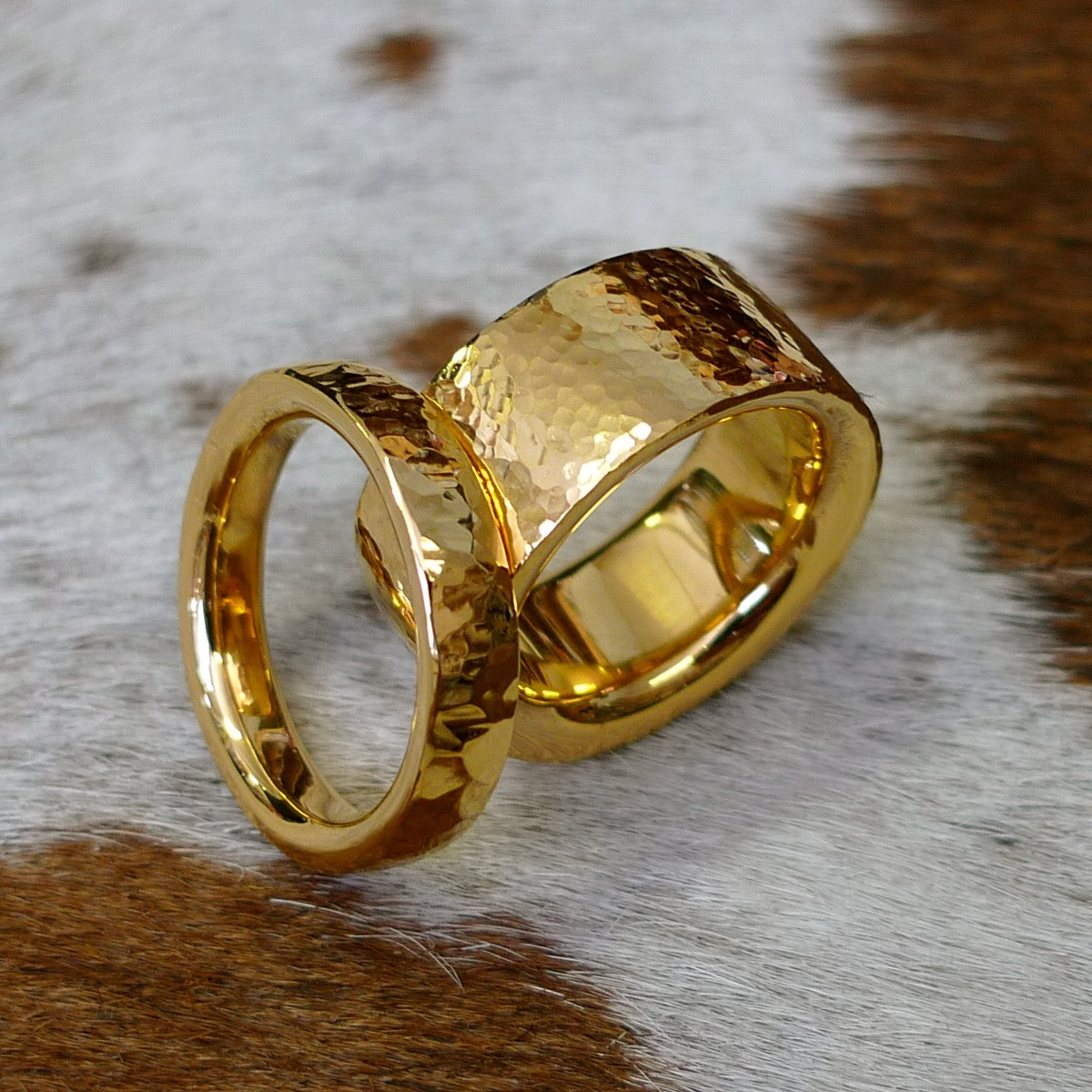 Hand made gold hammered unisex wedding rings