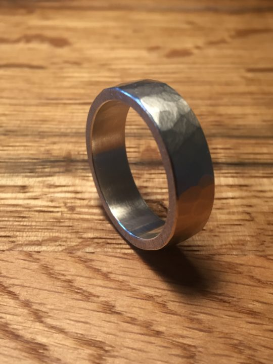 Tawny Phillips Hand Hammered White Gold Wedding Ring