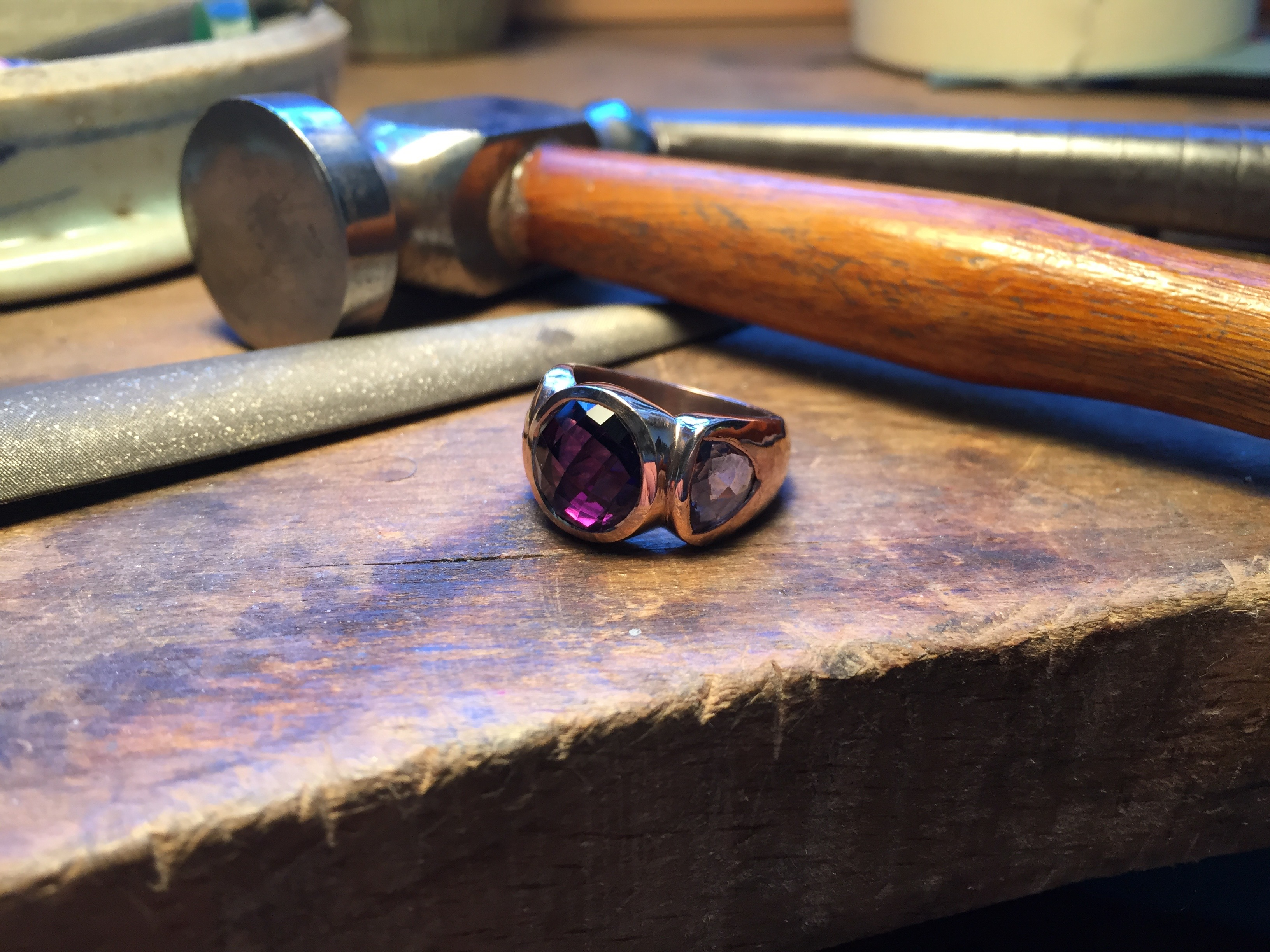 Tawny Phillips Handmade Amethyst Rose Gold Ring