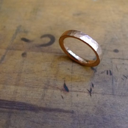 Tawny Phillips Handmae Rose Gold Beaten Wedding Ring