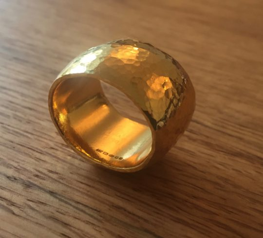 Tawny Phillips - Heavyweight Hammered Gold Oval Ring