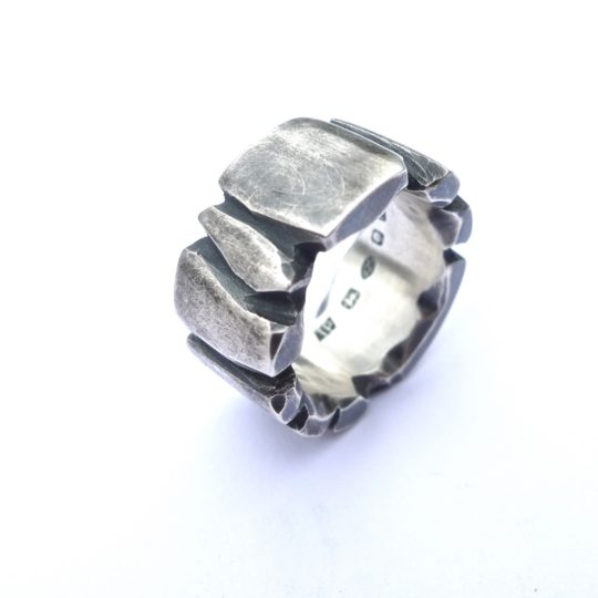 Tawny Phillips Heavyweight Oxidised Silver Facetted Ring