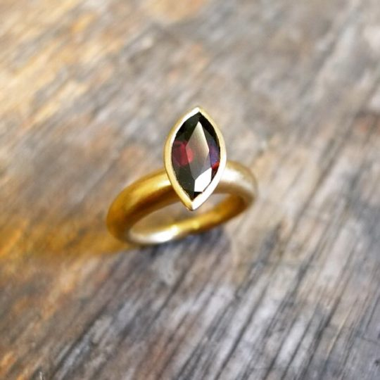 Tawny Phillips Marquis Garnet and Gold Ring