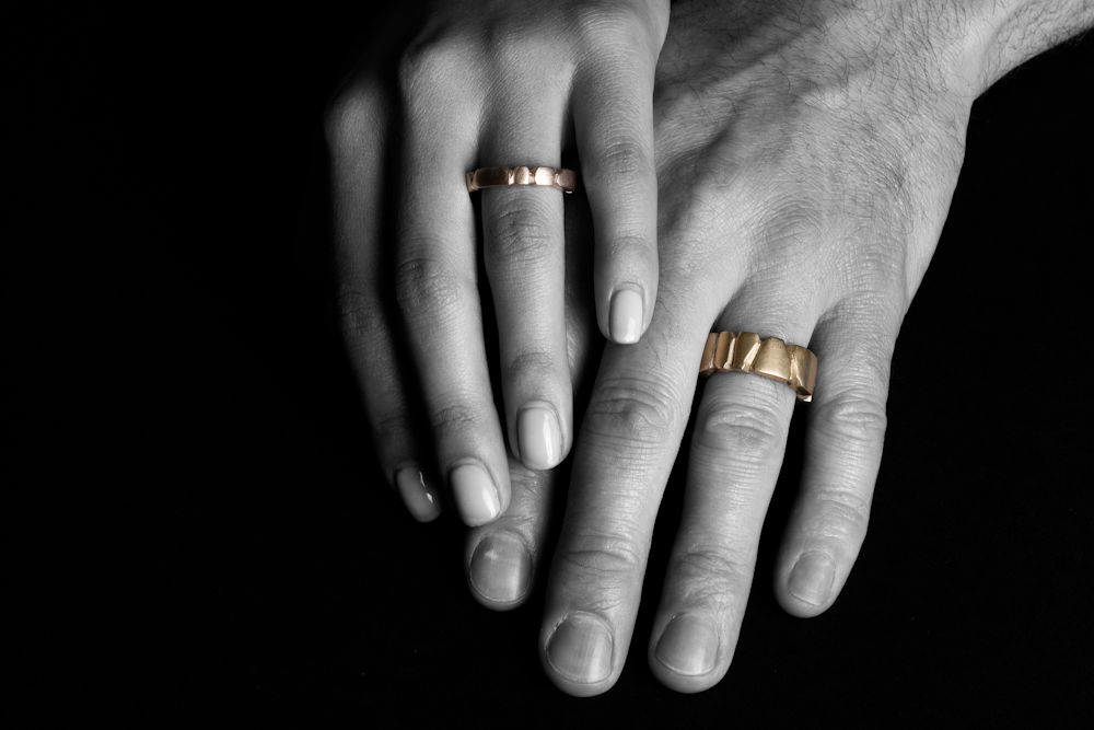 Tawny Phillips Mens and Womens Facetted Gold Wedding Rings