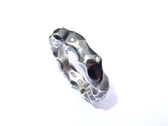 Tawny Phillips Oxidised Crumple Ring with Diamonds