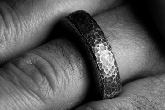Tawny Phillips - Oxidised Silver Hammered Men's Slab Ring