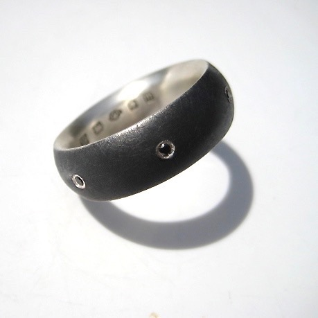 Tawny Phillips Oxidised Silver Oval Ring with Black Diamonds