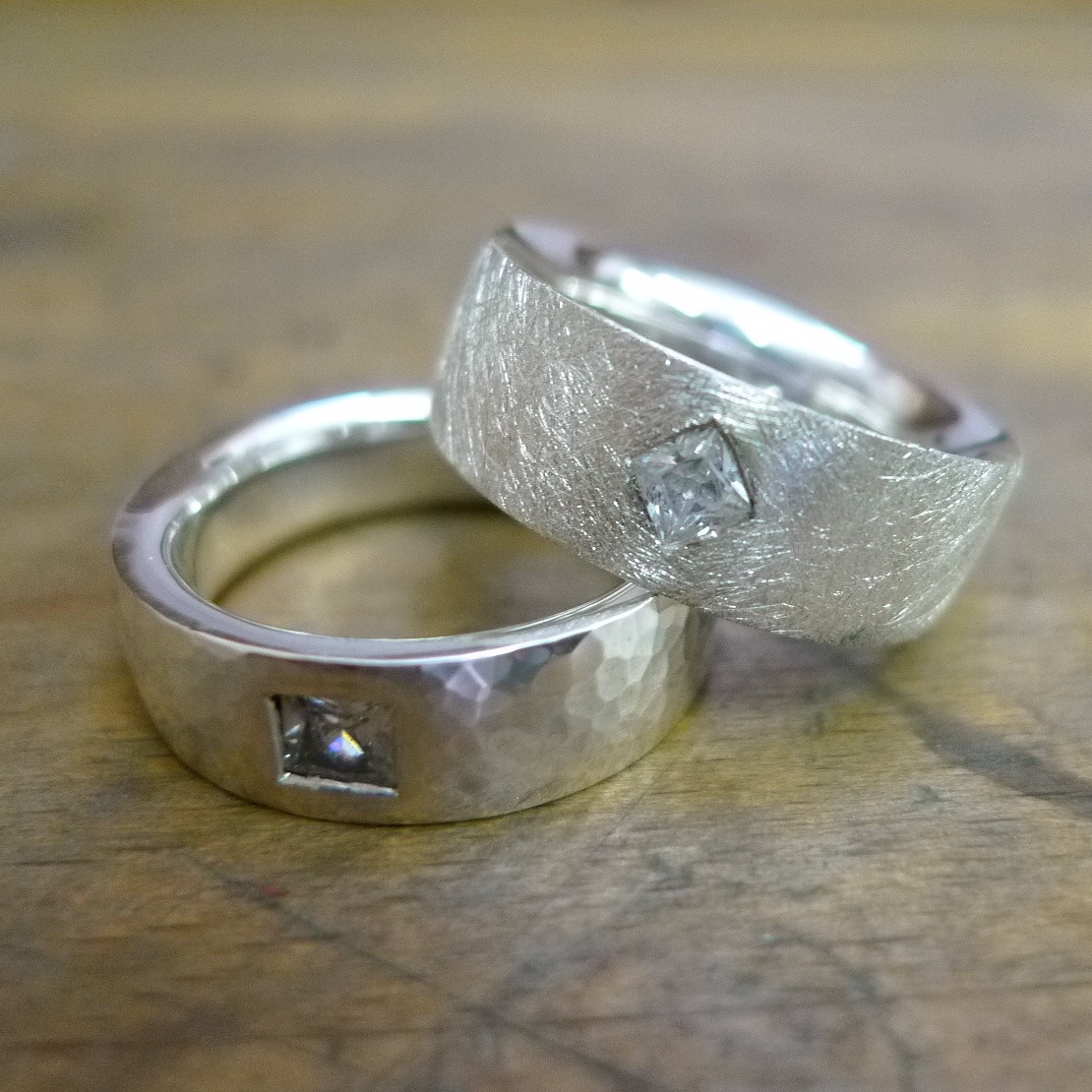 Tawny Phillips - Pair of Diamond Square Wedding Rings