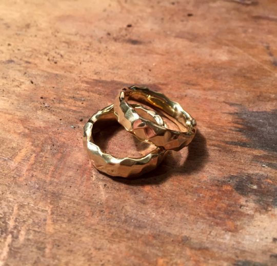 Tawny Phillips - Pair of Gold Crumple Wedding Rings