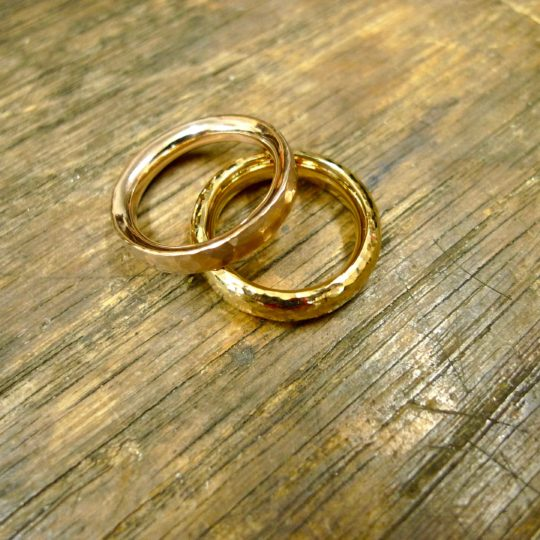 pair of handmade gold wedding rings - Handmade Wedding Rings