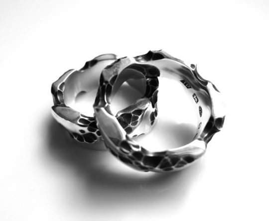 Tawny Phillips - Pair of oxidised silver battered and broken rings