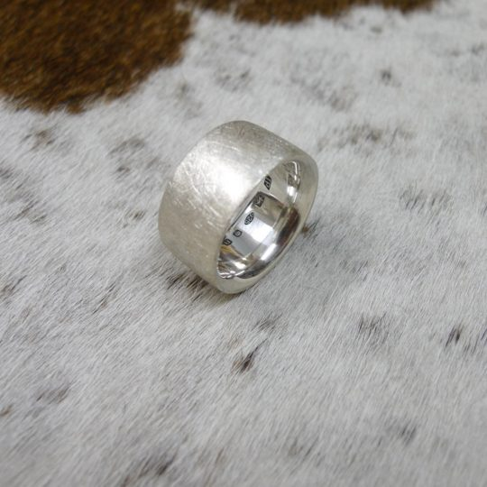 Tawny Phillips Scratched Silver Heavyweight Comfort Fit Ring