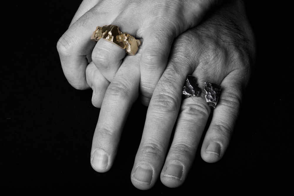 Handmade Gold and Silver Battered and Broken Men's Rings