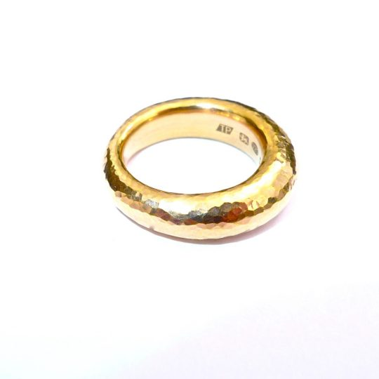 Tawny Phillips Tapered Gold Hammered Wedding Ring