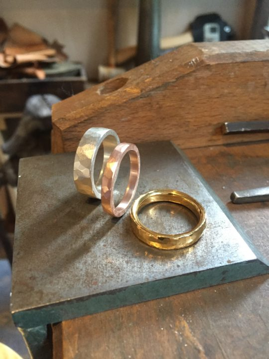 tawny phillips trio of handmade mens hammered wedding rings - Handmade Wedding Rings