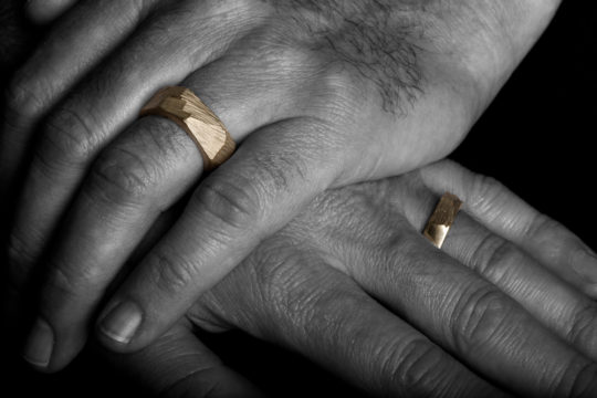 Tawny Phillips - Yellow Gold Rough Hewn Wedding Rings